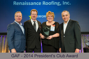 Certifications & Awards - Renaissance Roofing - Canton, Michigan - 2014Presidents_Club_Picture1