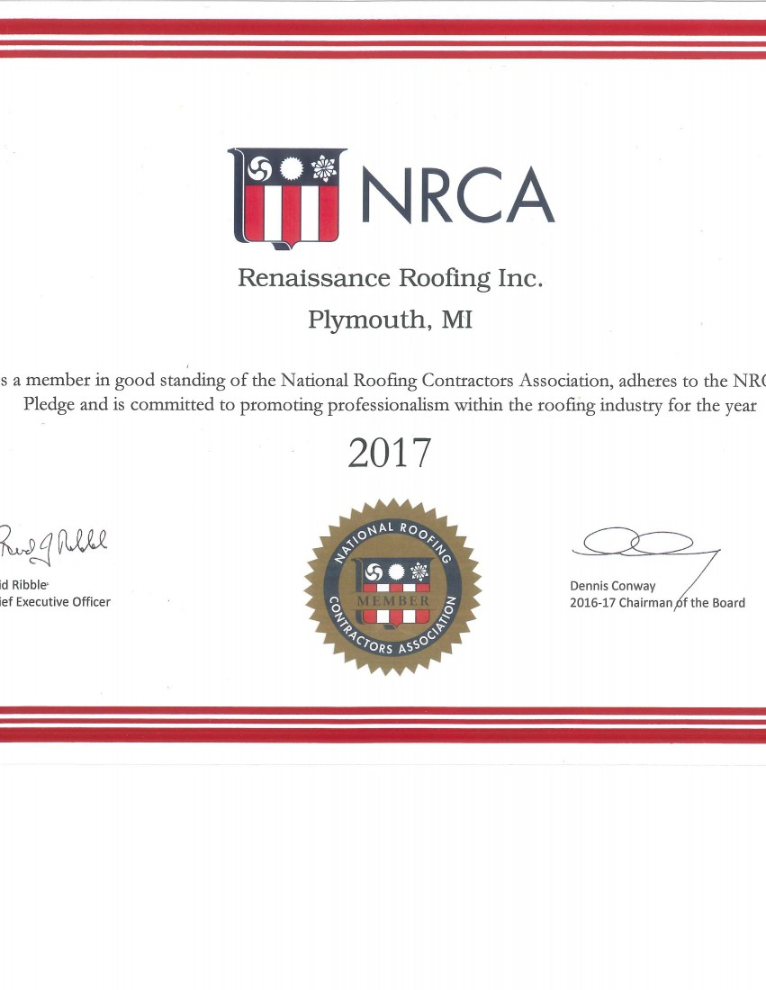 Certifications & Awards - Renaissance Roofing - Canton, Michigan - NRCA2017(1)